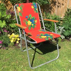 Folding Chair Dolly 50 Capacity Global Upholstery 69a7019 Vintage 1960s Garden Flower Power Red