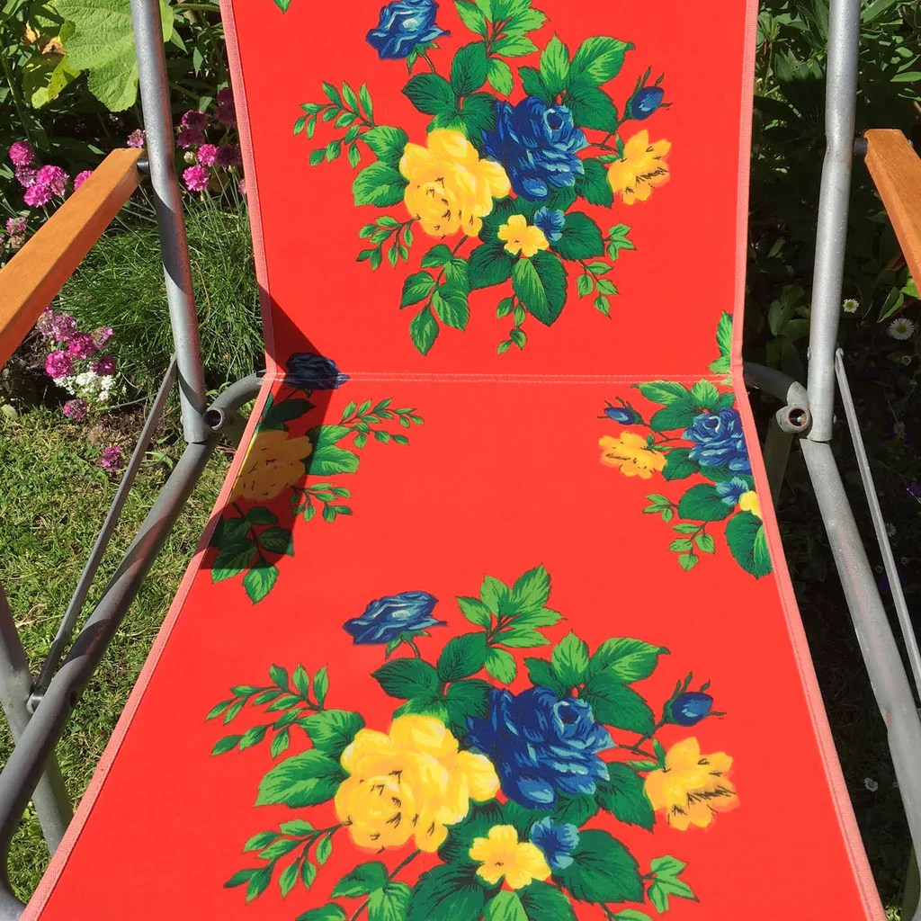 Vintage 1960s Folding Garden Chair  Flower Power  Red