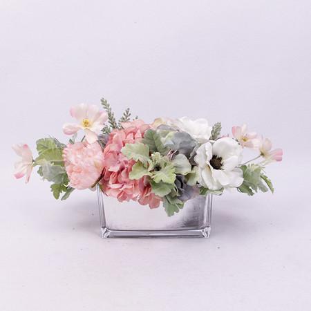 Pink Rose Hydrangea Peony Cosmos and White Anemone Flower