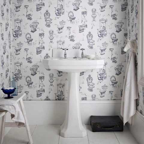 Remodeling A Small Bathroom With Removable Wallpaper