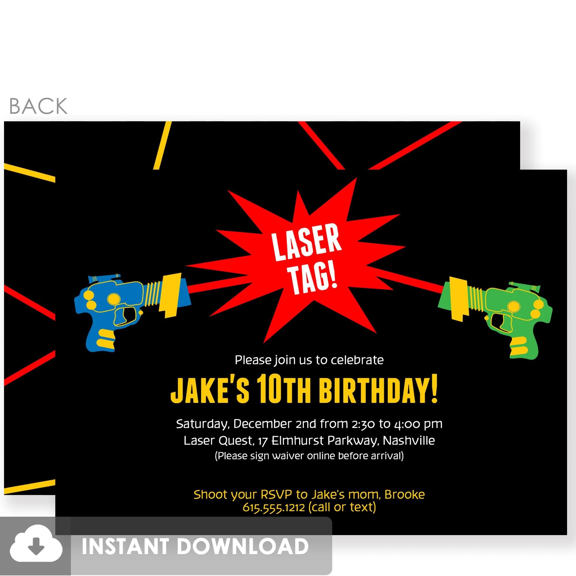 laser tag birthday invitations diy printable