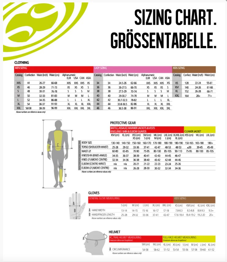 Ixs size chart also  shore line cycle world rh shorelinecycleworld