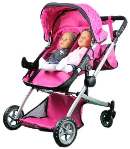 Babyboo Deluxe Twin Doll Bassinet  Stroller Pink with