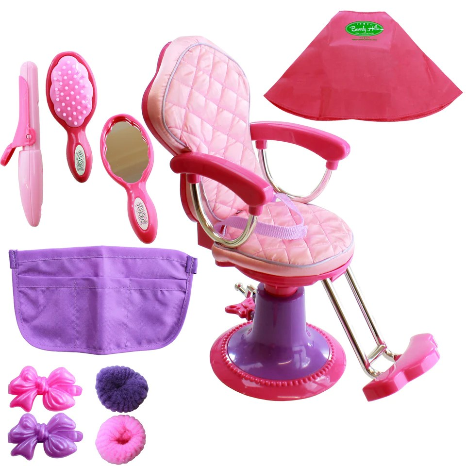 doll salon chair ergonomic explanation beverly hills hair apron fits 18 toys 2 discover