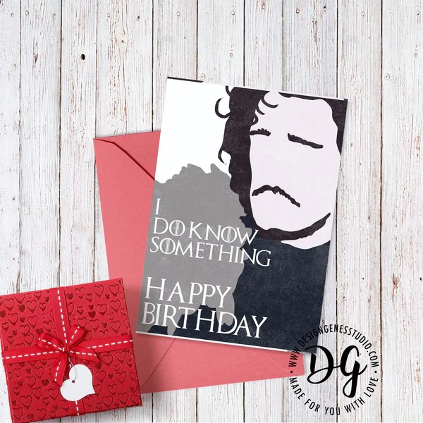 Printable Game Of Thrones Card Birthday Card Jon Snow