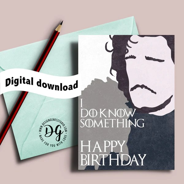 Printable Game Of Thrones Card Birthday Card Jon Snow
