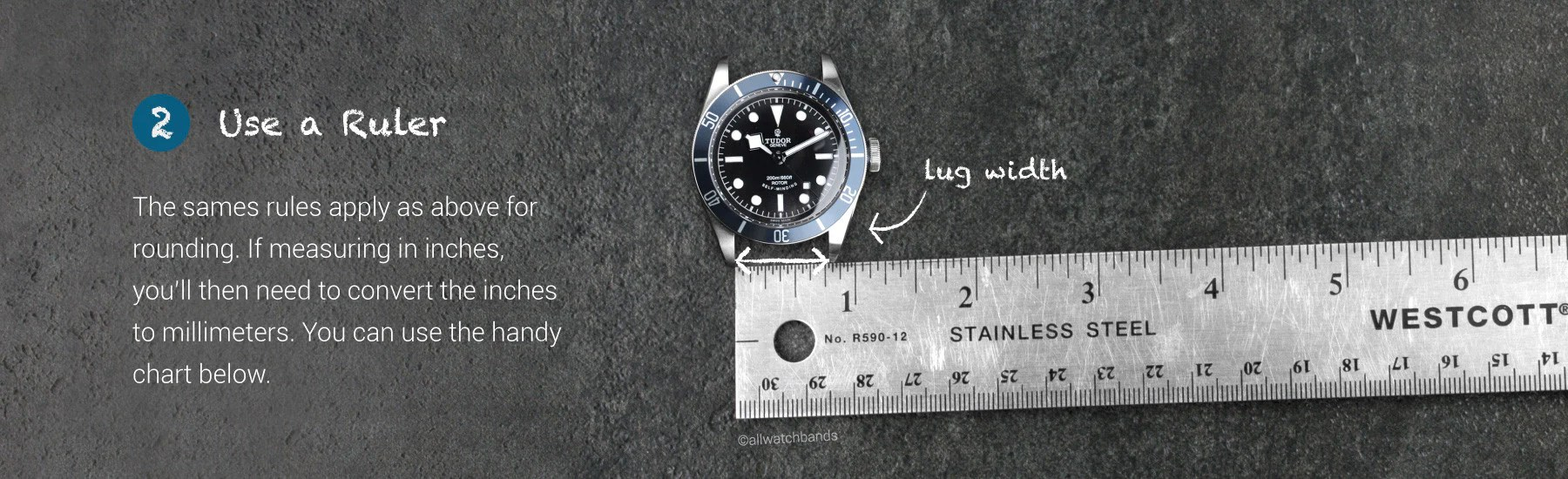 Watch band conversion chart inches to millimeters also measuring guide allwatchbands rh