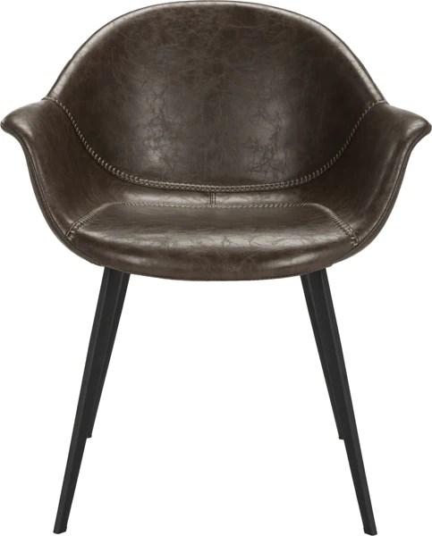 tub chair brown leather steel sofa safavieh dublin midcentury modern dining dark and black furniture