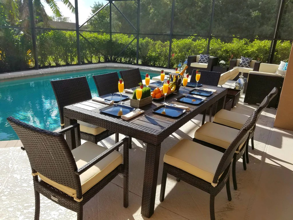Restaurant Patio Chairs 9 Piece Modern Outdoor Dining Set In Brown Wicker