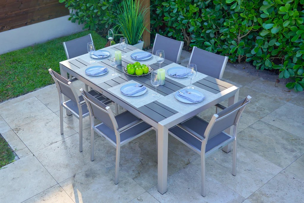 belvadare 7 piece brushed aluminum outdoor dining table set