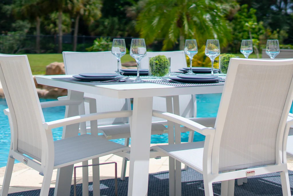 juno 7 piece outdoor dining table set in white