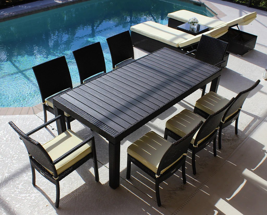 9 Piece Modern Outdoor Dining Set In Brown Wicker