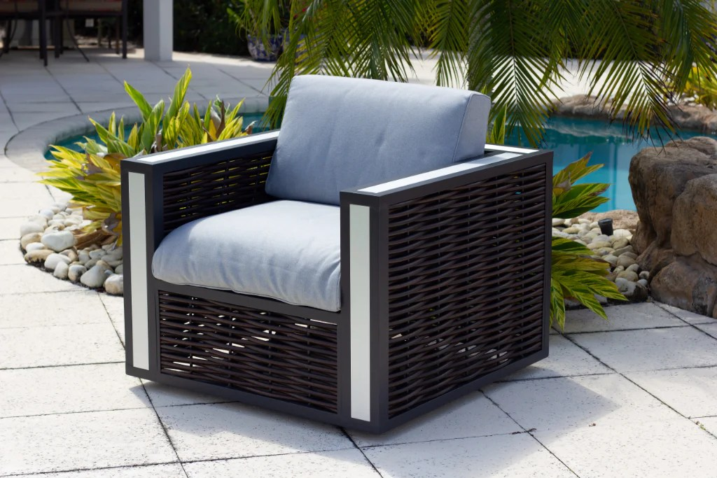 modern outdoor patio swivel chair with cushions in brown