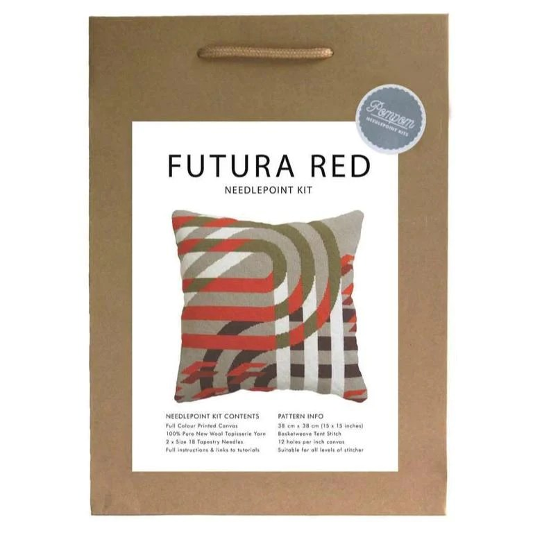 pillow futura red needlepoint kit make workshop