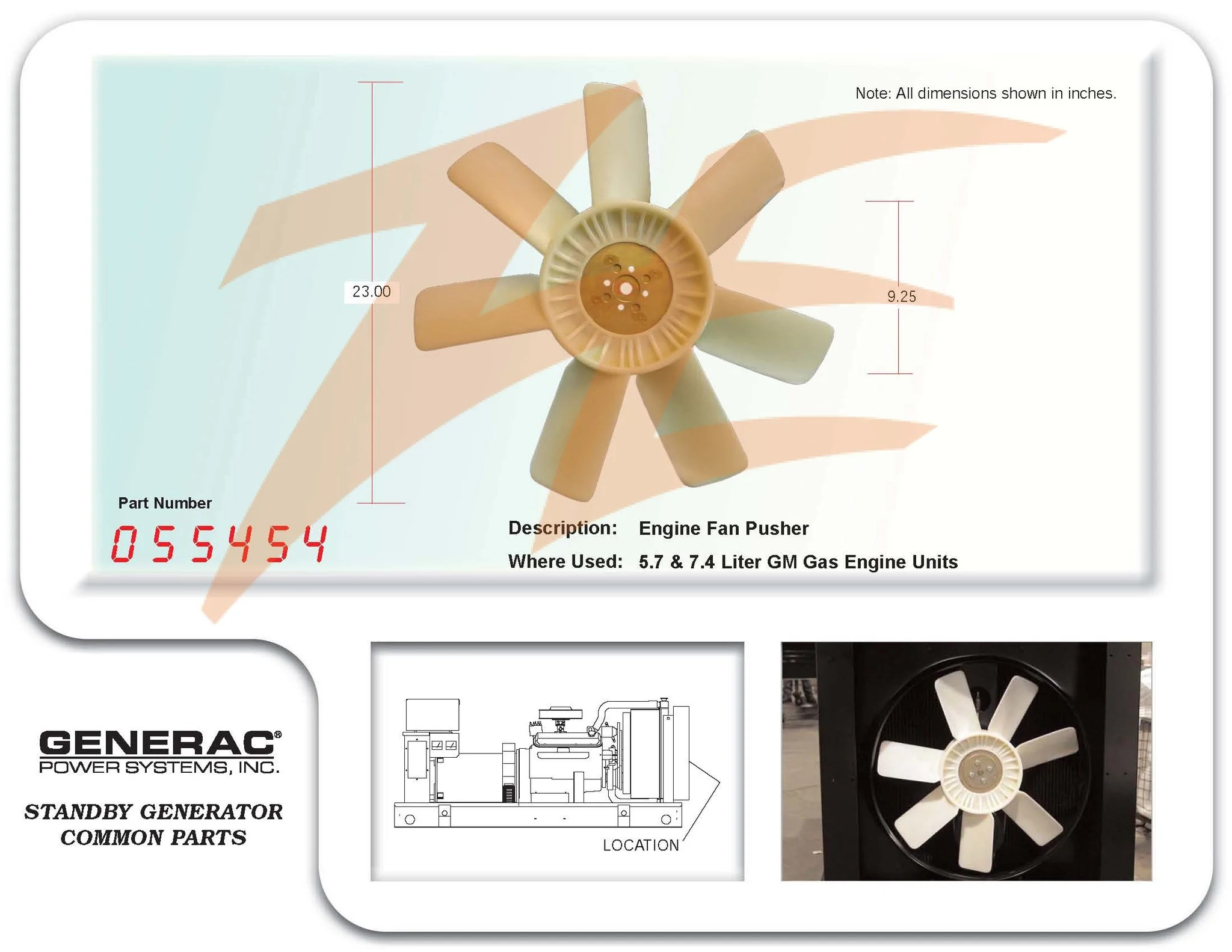 medium resolution of generac 055454 engine cooling fan pusher 5 7 7 4l