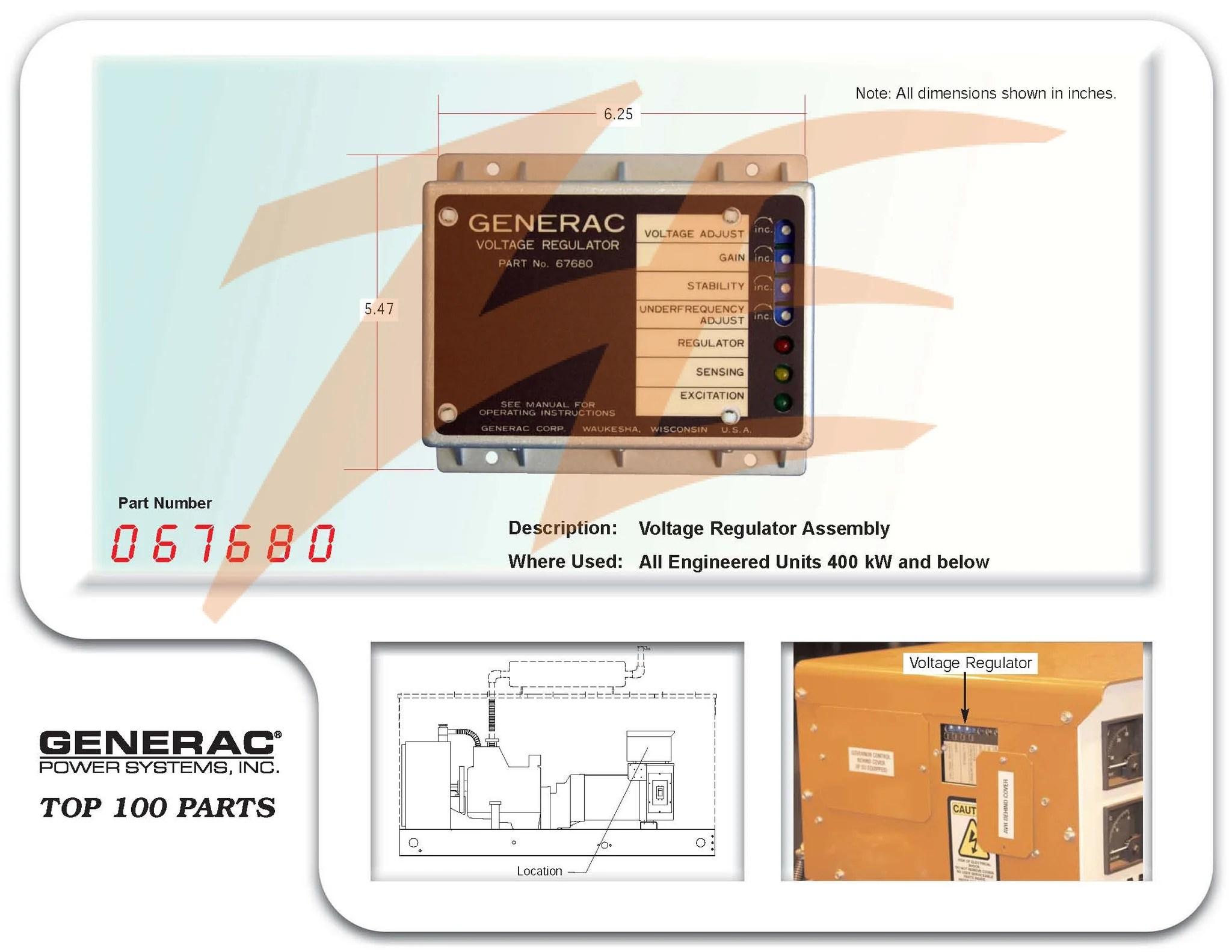 hight resolution of generac 0676800srv voltage regulator assembly