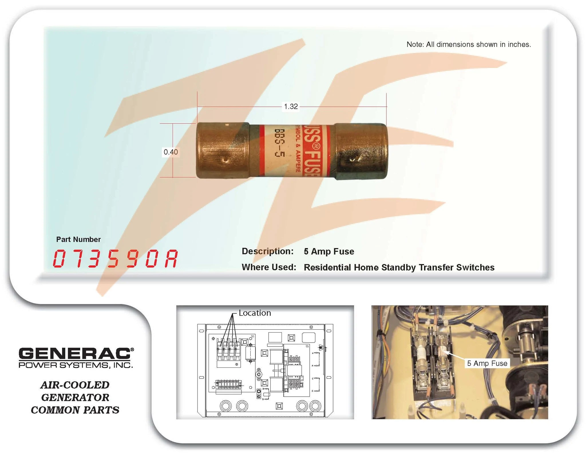 hight resolution of generac 073590a 5 amp buss fuse ziller electric home electrical box transfer switch fuse box