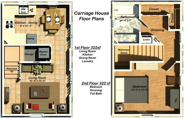 Th644ch Bps 644sf Tiny Carraige House Building Plan Set