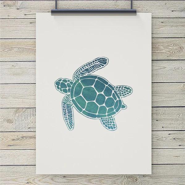 Sea Turtle Art Print  Coastal Art  Home Decor from 7th