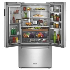 Kitchen Aid Appliance Sit At Island Kitchenaid 23 8 Cu Ft 36 Counter Depth French Door Platinum Interior Refrigerator