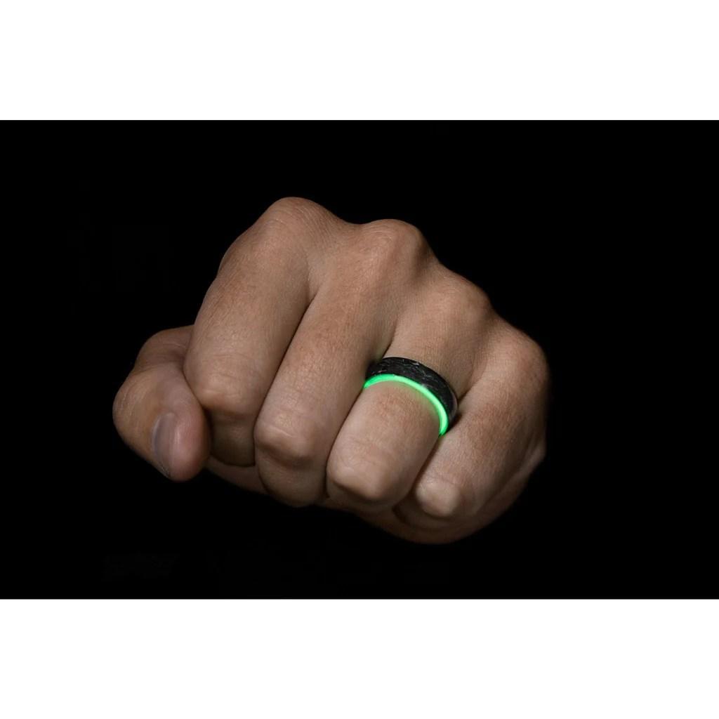 Green Carbon Fiber Glow Ring & Band