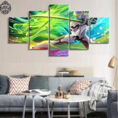 Modern Artwork For Living Room New Ideas Rooms Decoration Cuadros Wall Art Pictures 5 Pieces Overwatch Genji Game Poster Painting Home Decor