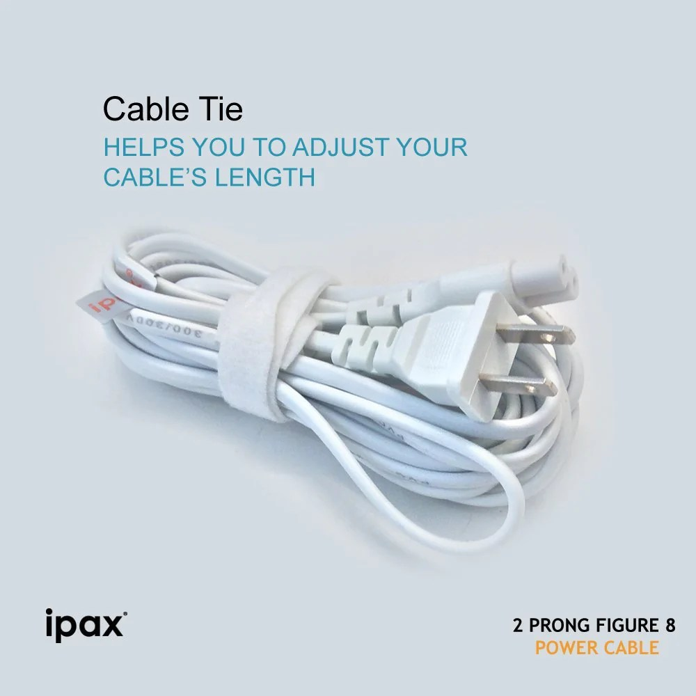 ipax 10ft ac adapter 2 prong figure 8 power cord ipax store [ 1000 x 1000 Pixel ]