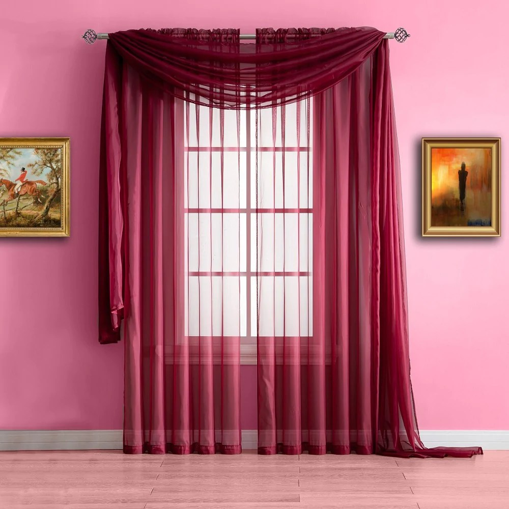 Extra Long Burgundy Red Valance Window Scarf Or Voile Sheer