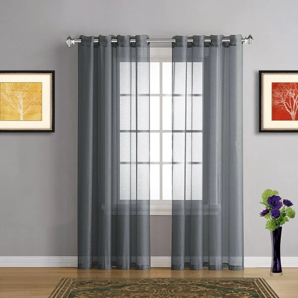Warm Home Designs Gray Charcoal Sheer Curtains Amp Window Scarf Valances