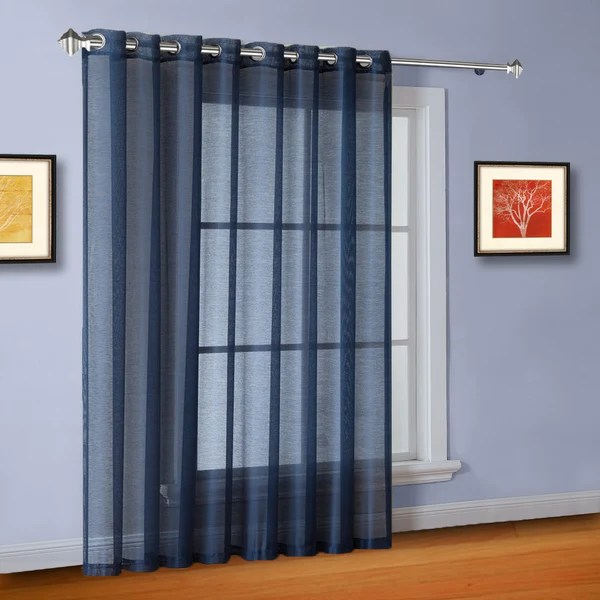 sheer patio door curtains or sliding door drapes in 2 colors 2 sizes tagged blue curtains warmhomedesigns com