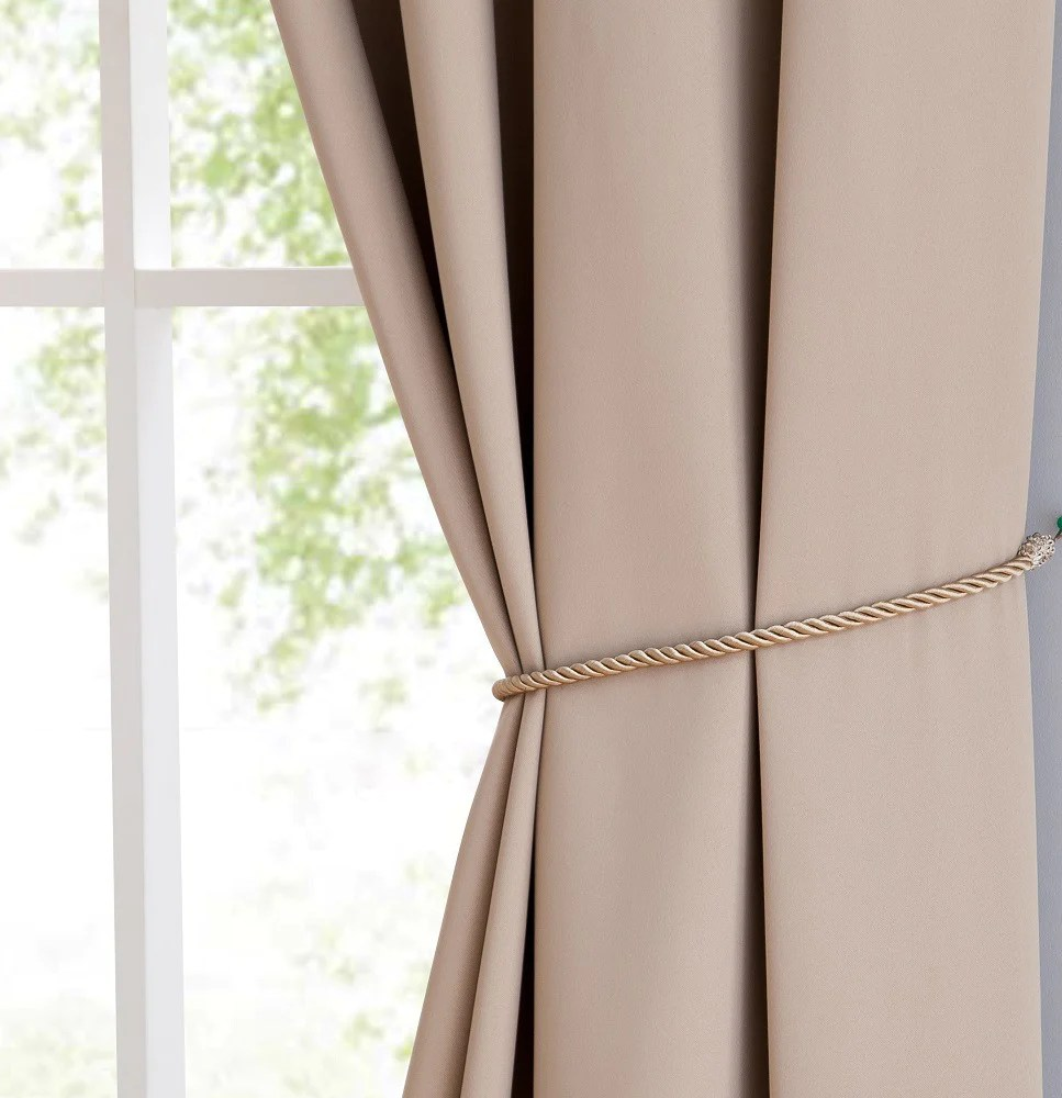warm home designs taupe blackout curtain panels pairs valances with matching tie backs in 7 sizes