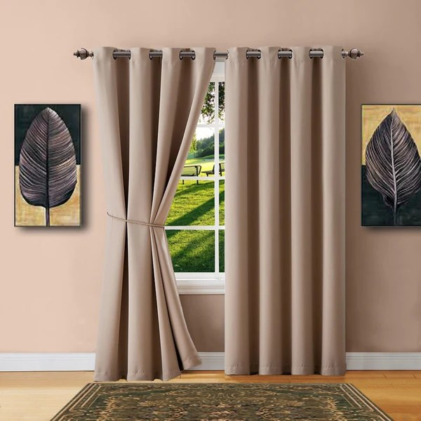 Warm Home Designs Taupe Blackout Curtains Valance Scarves