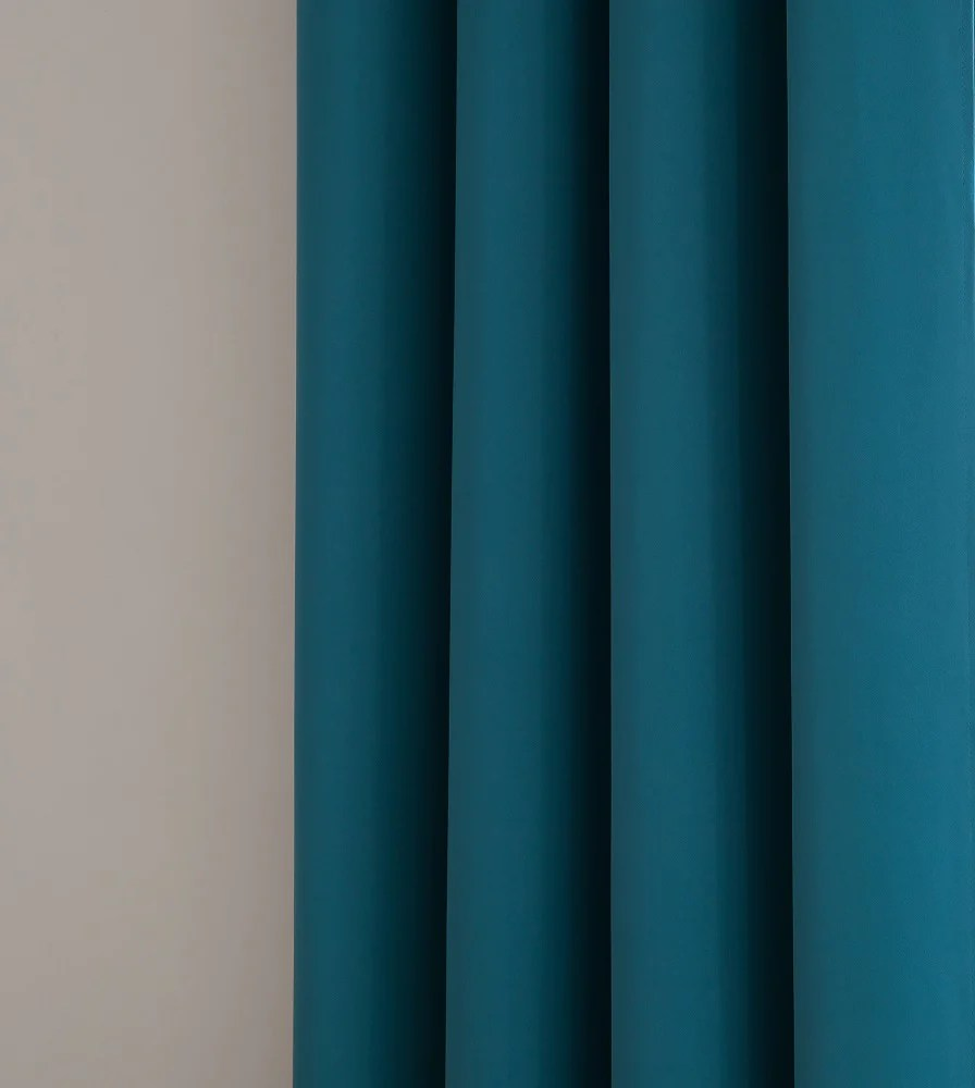 Warm Home Designs Pair Of Blue Teal Room Darkening Curtains Tie Backs