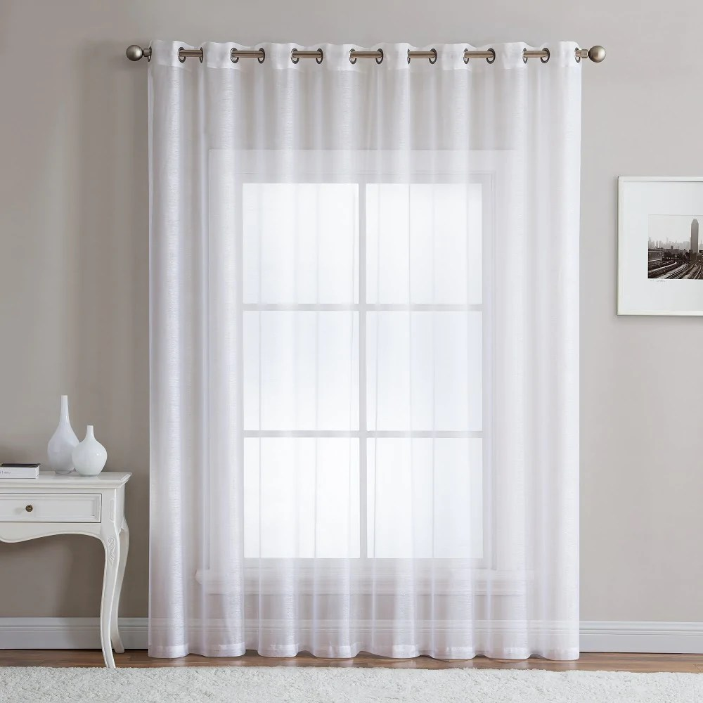 warm home designs 1 panel of 102 extra wide linen textured sheer white patio door curtains
