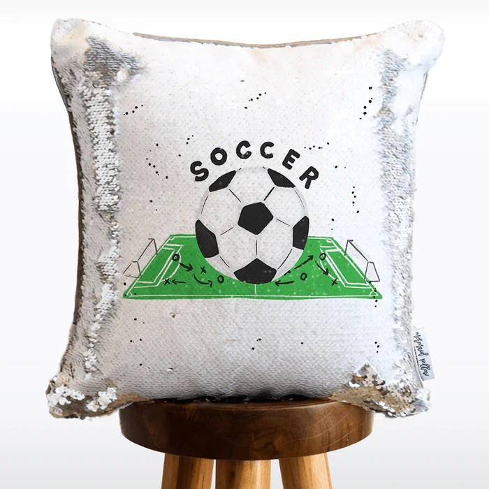 soccer mermaid pillow with
