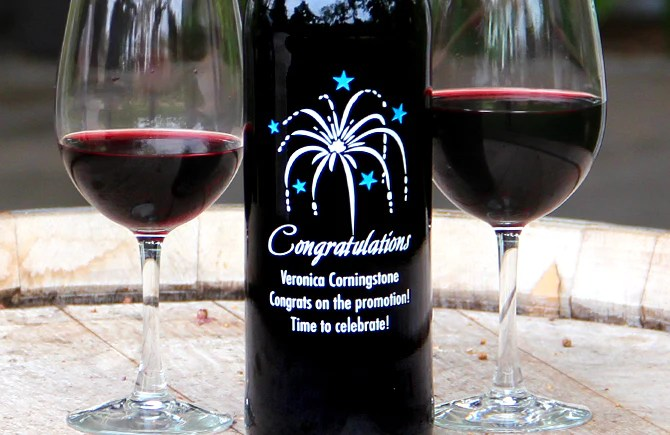 Congratulations Wine  Etching Expressions