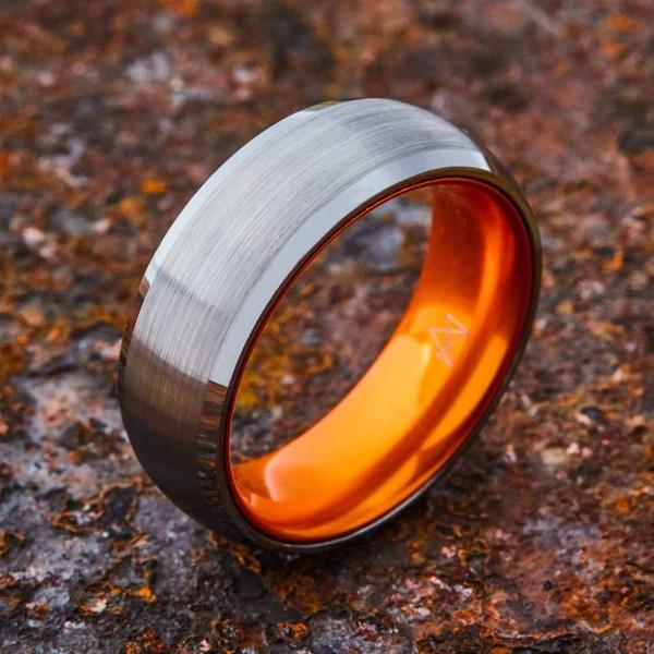 EMBR Silver Tungsten Ring Resilient Orange