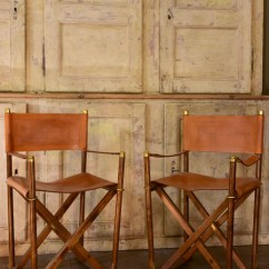 Leather Directors Chair Antique Office Wheels Pair Of Vintage Folding Director Chairs Almazan Chez Pluie