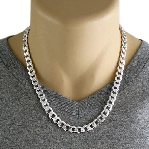 Sterling Silver Cuban Curb Chain Necklace 9mm Gauge 250