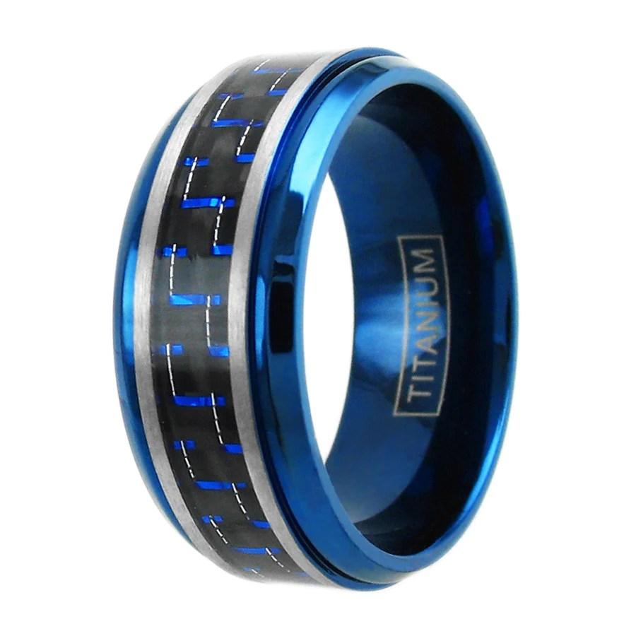 Satin Finish Titanium CZ Eternity Ring With Beveled Edges