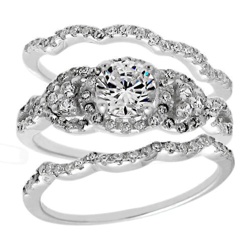 1 68 carat cz engagement ring 3 piece wedding band set in sterling silver