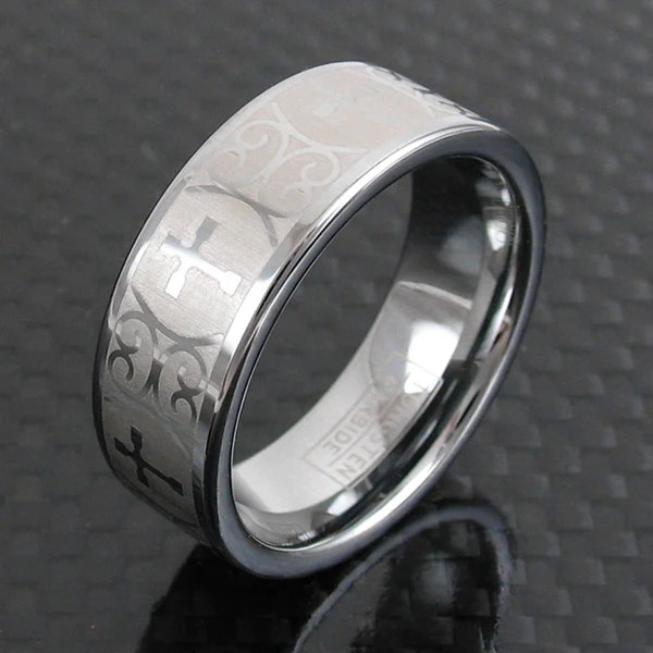 Silver Tungsten Wedding Band W Baroque CrossWholesale