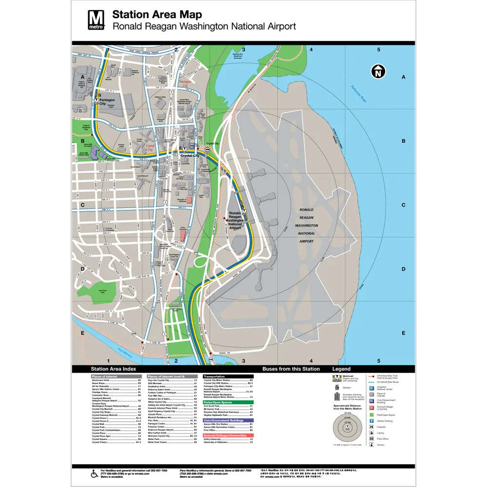 Ronald Reagan Washington National Airport Area Map Print