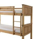 Corona Bunk Bed Distressed Solid Waxed Light Pine The Furniture Mega Store