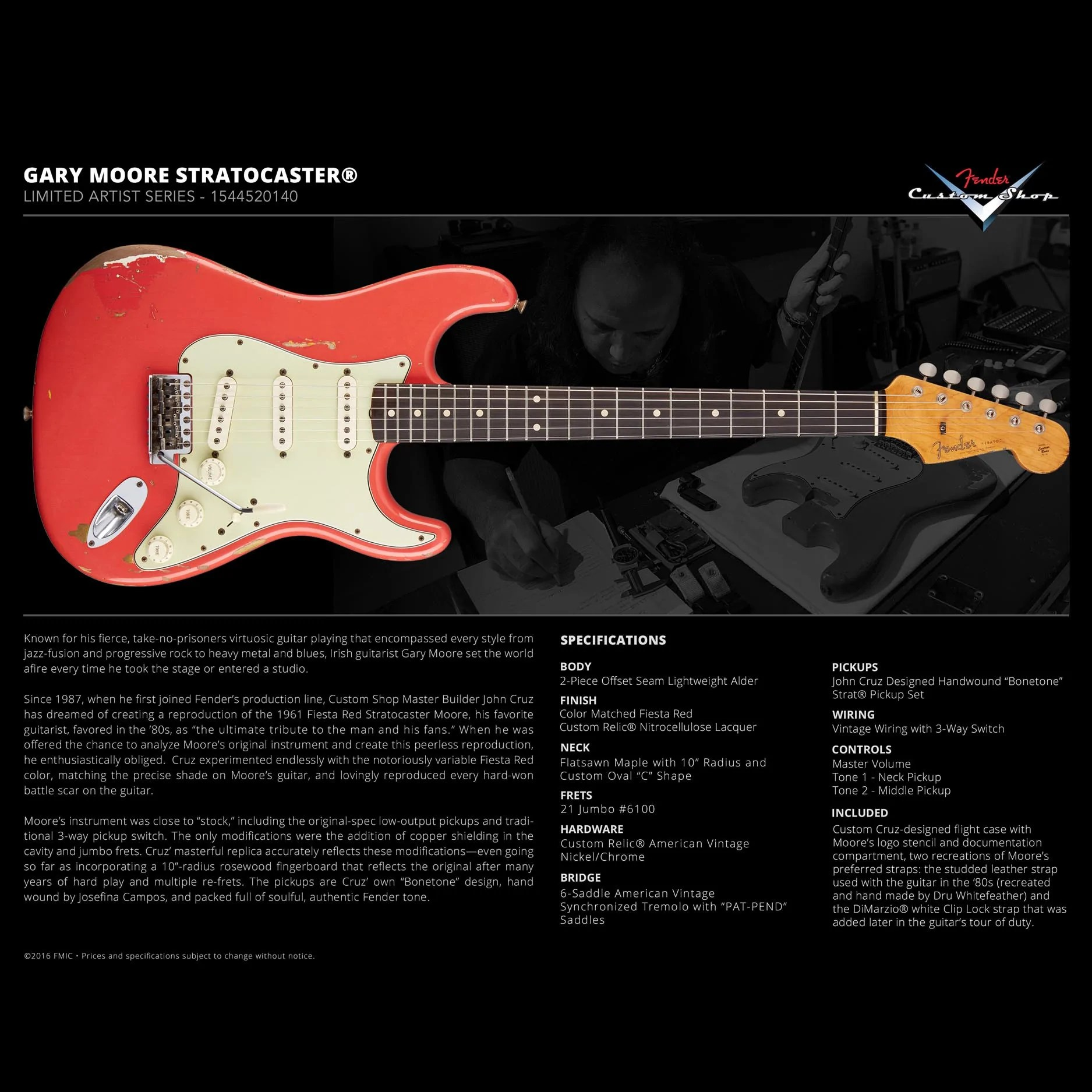 fender custom shop gary moore stratocaster limited edition artist series tribute fiesta red [ 1875 x 1875 Pixel ]