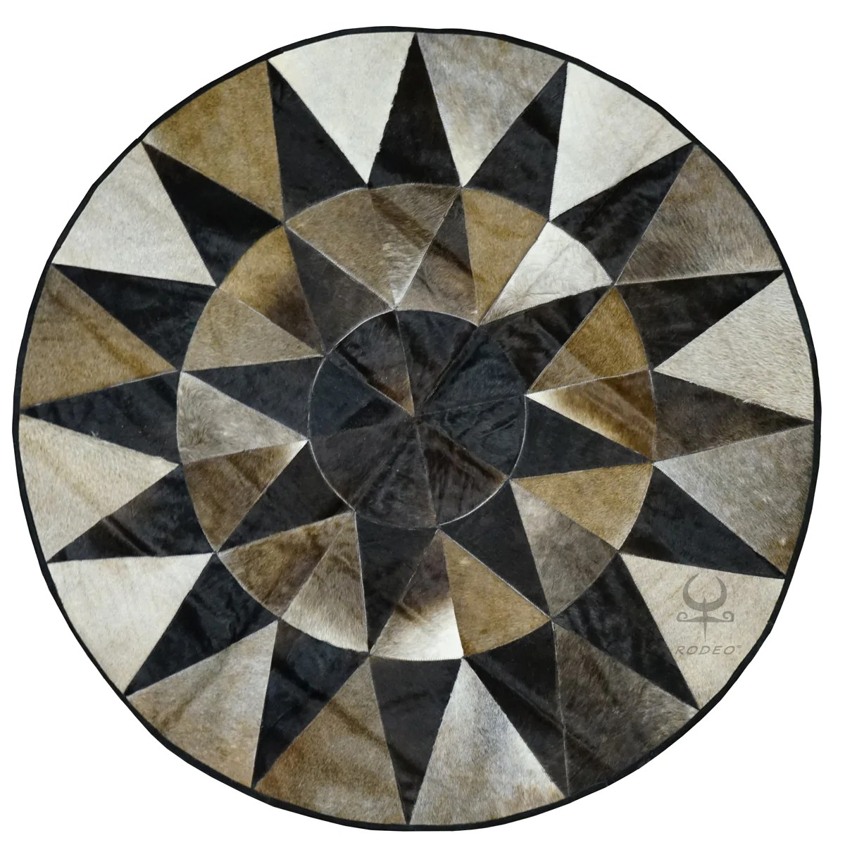 star round cowhide patchwork rug large