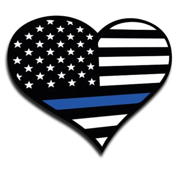 Heart Thin Blue Line Sticker - 4 x 4.5 Inches - Thin Blue ...