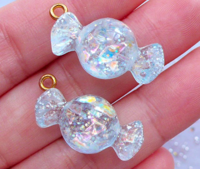 Kawaii Candy Charms With Glitter Iridescent Candy Pendant Decoden Cabochons Sweets Deco