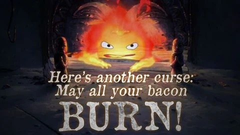 The Yellow Wallpaper Character Quotes Calcifer Graphic Tee Shirt May All Your Bacon Burn