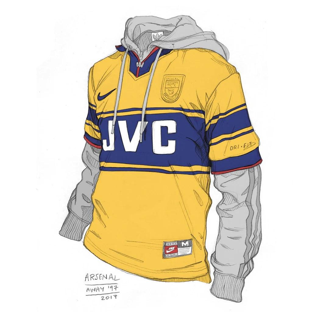 Arsenal yellow away shirt design Angelo Trofa